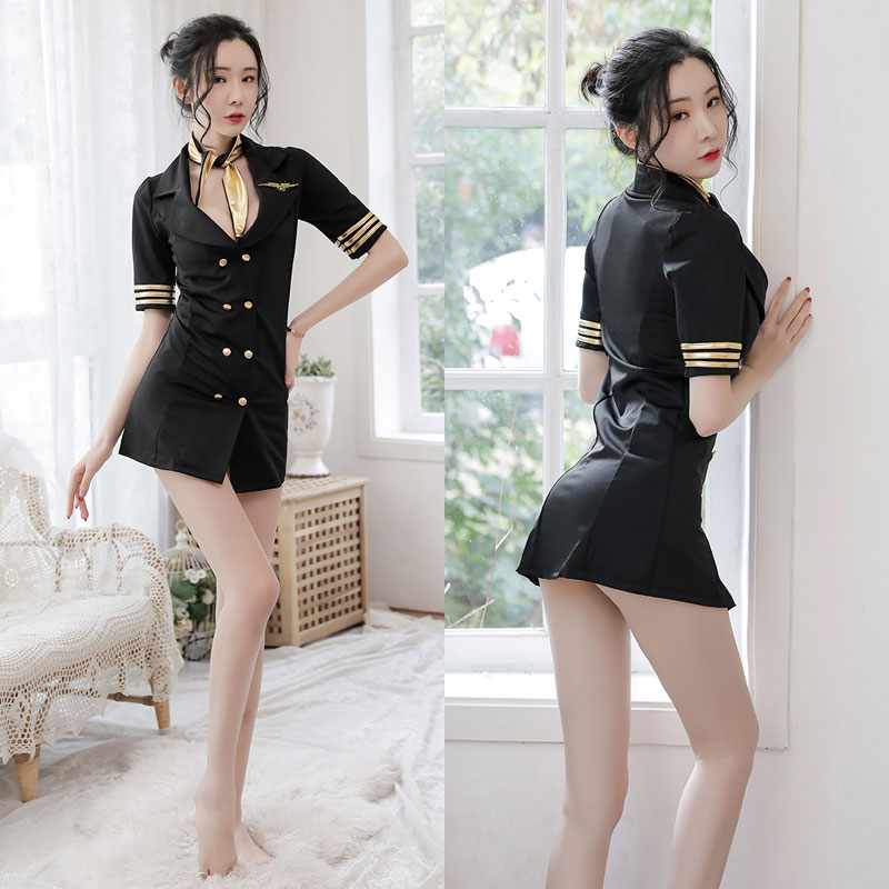 Sexy Female Women Lingerie Sexy Cosplay Costumes Stewardess Air Hostess Uniform Role Play Dress Flight Attendant Uniform Porno image