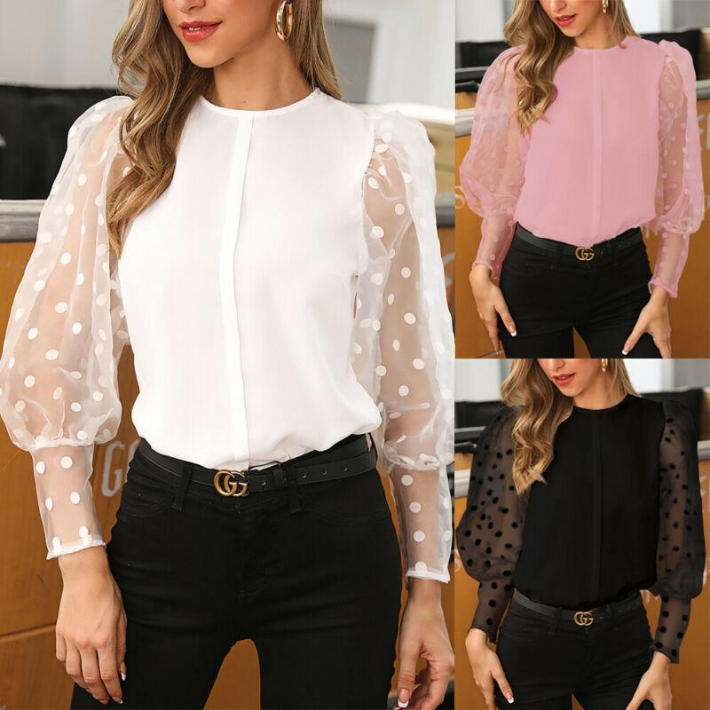 Vintage Bluse Sehen-durch Hülse Sexy Polka Dot Print Bluse O Neck Dame Büro Hemd Tunika Beiläufige Lose Tops plus Größe Blusas