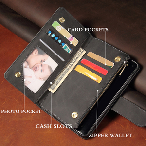 Image 3 - 高級フリップマルチカードファスナー財布革iphone 12プロマックスケースiphone x xs xr 6 6s 7 8プラス11 12ミニケース