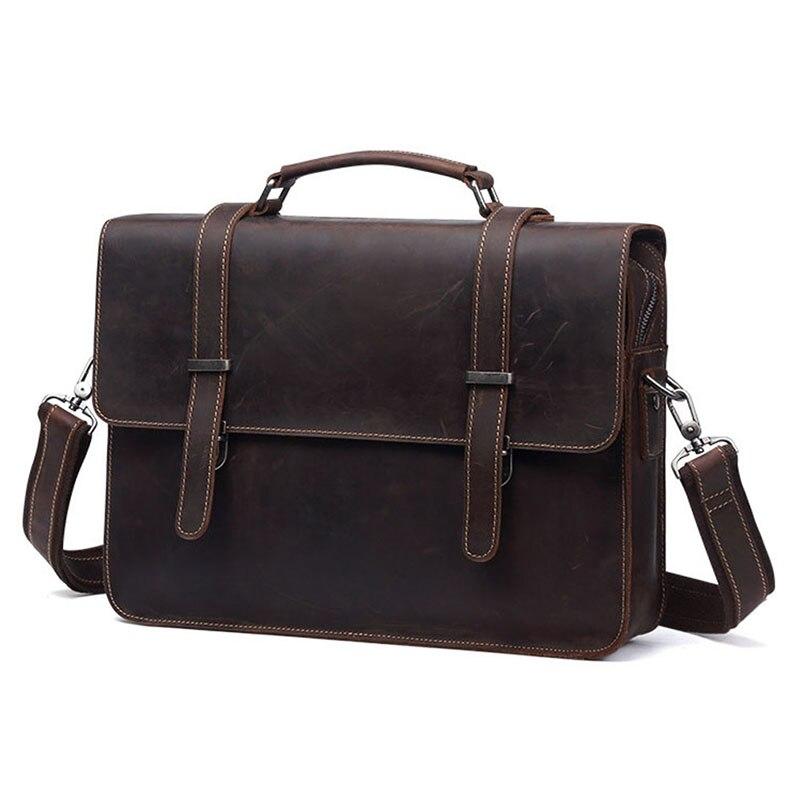 Men's Genuine Leather Briefcase Crazy Horse Retro Messenger Male 13 Inch Laptop Shoulder Bag Business Travel Casual Handbag Bags