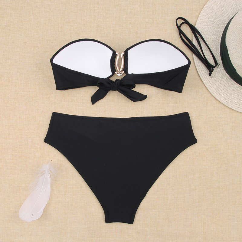 Hdf50a3d8ecea44aeb64222a136863a03r - Sexy Bikini Push Up Solid Swimsuit Female Bikinis String Bathing Suit Women Swimwear Bandaeu V Neck Biquini Bikini Set