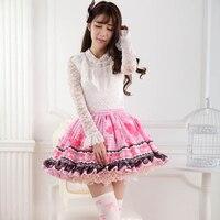 Princess sweet lolita skirts Originally Japanese peach red Lolita Sweet Princess pleated lace short skirt fashion women GZWY227