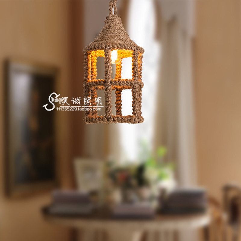 Işıklar ve Aydınlatma'ten Kolye ışıkları'de Amerikan ülke kenevir avize Loft Retro sanat tasarımcısı misafir restoran kahve Bar giyim mağazası dekorasyon lampen title=