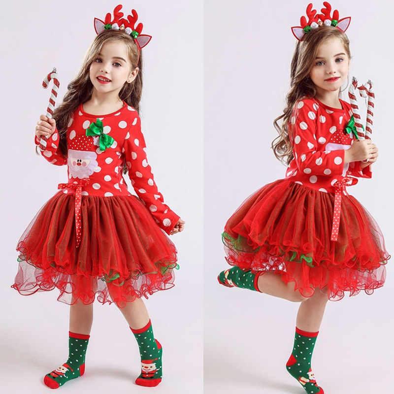 Bebê menina roupas de natal meninas lantejoulas vestido de princesa penas tutu vestido crianças vestido fino para 2-7yrs com cervos bandana