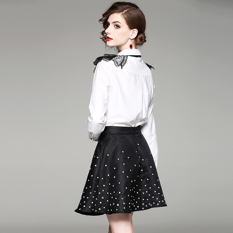 New 2019 Autumn Sexy 2 Piece Set Women Long Sleeve Bow Shirts And Mini Black Skirt Female Elegant Suit Lady Work Wear LX1852