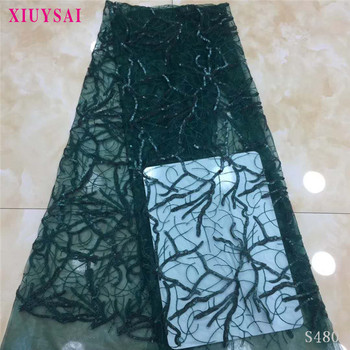 Hot sale African Lace Fabric 2020 High Quality Tulle Lace Dress For Women Embroidery sequins Lace Net French Lace Fabric  SL480