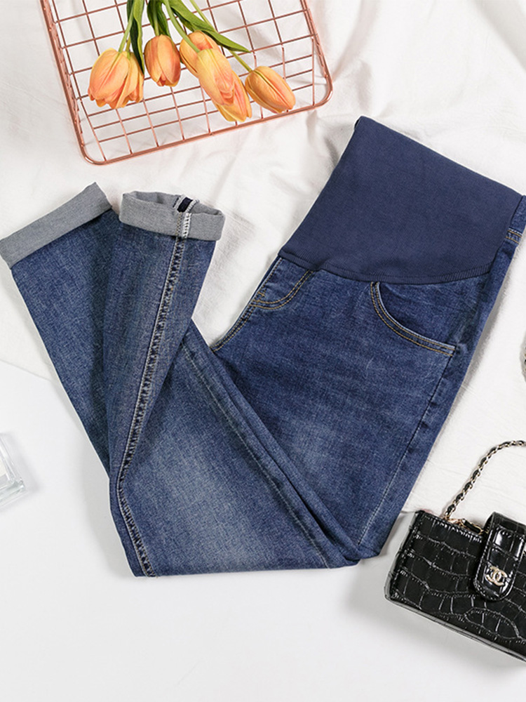 Jeans Elastic-Pants Pregnant-Women Maternal Trousers Wear Straight Spring Wide-Leg Loose