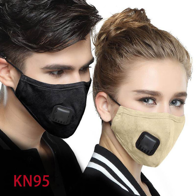 Kpop Cotton mask Anti Dust Pollution Flu Mouth Face Mask with 4pcs Carbon Filter KN95 Respirator PM2.5 Fabric Black face Mask 2