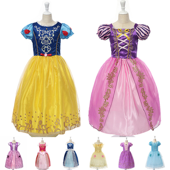 9 Style Princess Dresses Girls Costume Raunpzel Snow White Belle Aurora Cinderella Dress Kids Halloween Party Fancy Costumes fancy girl princess dress cosplay beauty and the best costume kids halloween birthday party dress belle aurora cinderella dress