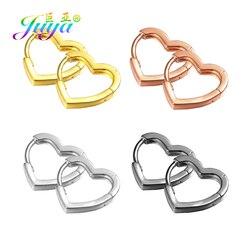 Juya 2Pairs Heart Earrings Hook Clasps High Quality Gold Silver Color Earring Findings For DIY Women Hoop Earring Jewelry Making