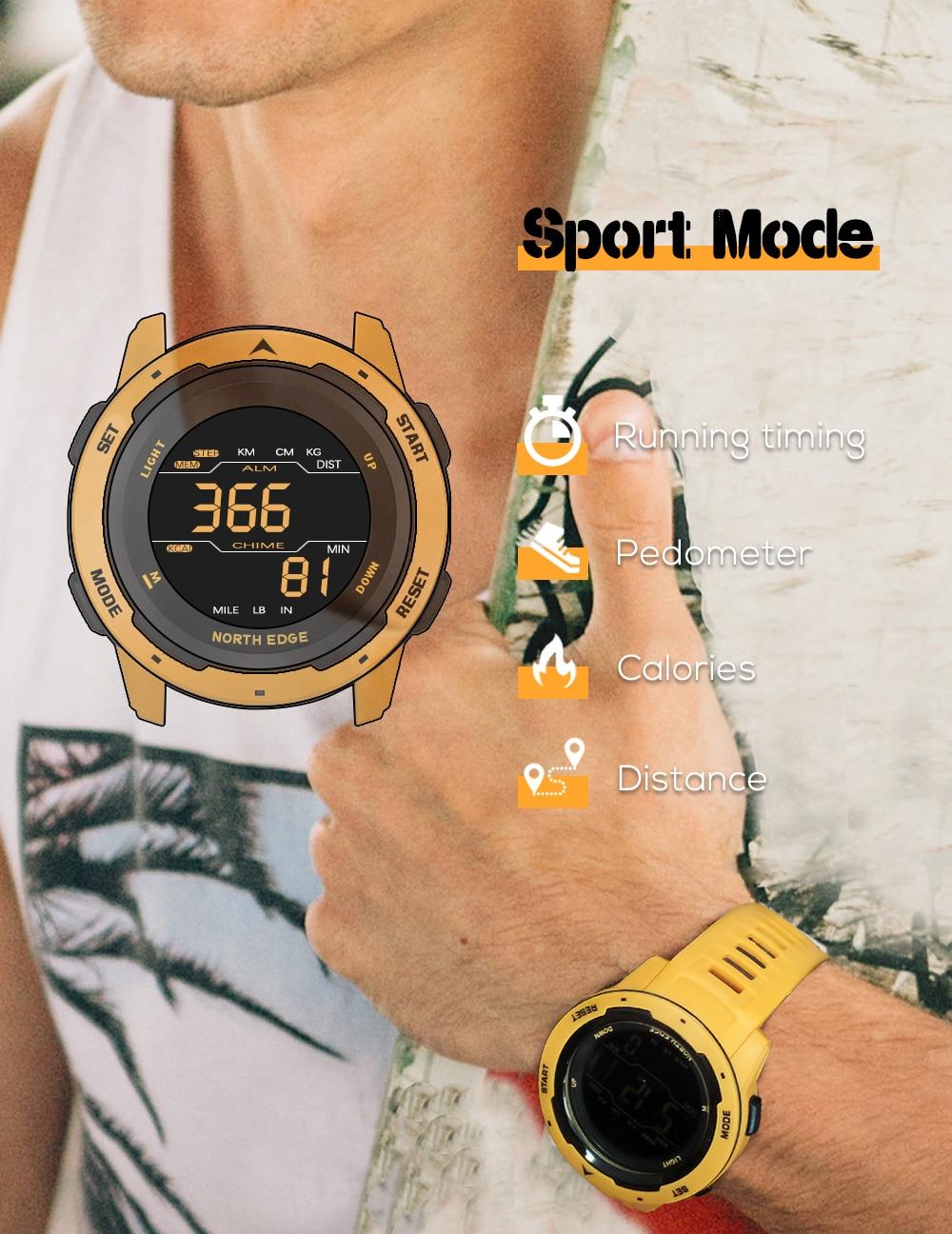 Montre numérique Homme Sport North Edge étanche à 50 m
