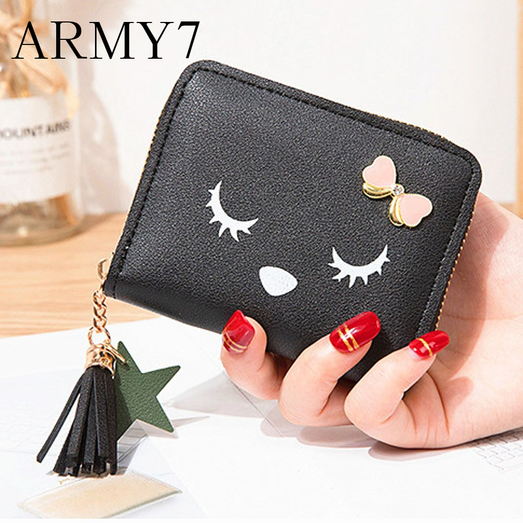 Cartoon Leather Girls Card Clamps Women/'s Wallet Coin Female Purse Clip Billfold