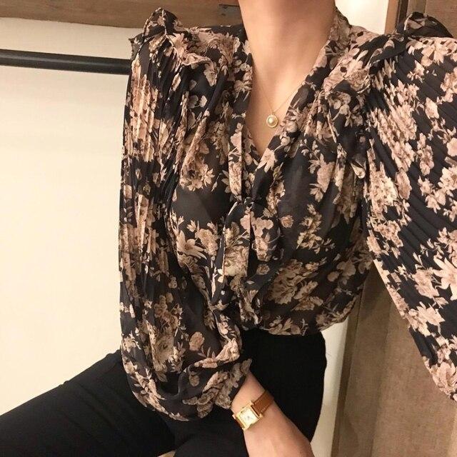 Ezgaga Blouse Women Korean Chic Sweet Lace Up V-Neck Floral Printed Long Lantern Sleeve Ruffles Ladies Shirts Fashion Blusas 3