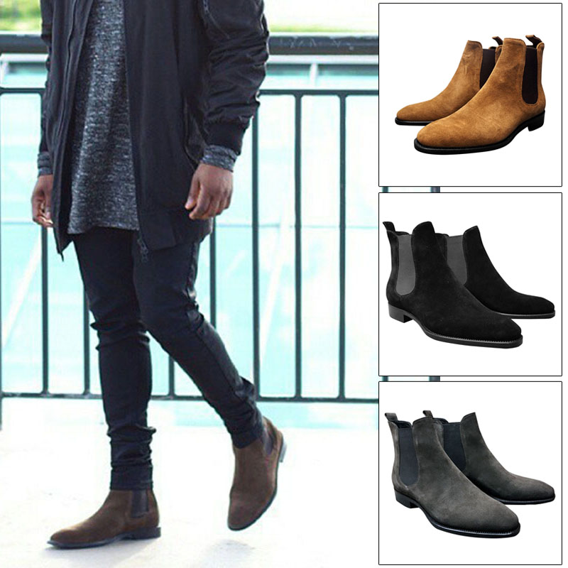 Men Suede Ankle Boots Formal Casual High Top Shoes Anti-slip Breathable For Outdoor Fashion Boots Men Zapatillas Hombre