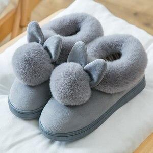 Image 1 - Zimowe kapcie damskie 2020 Fluff Suede utrzymuj ciepłe kapcie damskie buty śliczne uszy królika buty klapki damskie