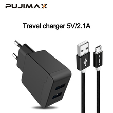 PUJIMAX USB Charger 2 Ports with 1M cable For iPhone Wall/Travel Portable Mobile Phone Charging Adapter Samsung