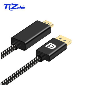 Image 2 - 2Meter Displayport to HDMI Cable DP to HDMI 2.0 Adapter For Projector Display Port 4K 60Hz Audio Converter Black White Braid