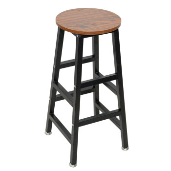 Wooden Round Bar Stool Vintage Pub Seat Retro Metal Frame Wood Top Chair for Restaurant
