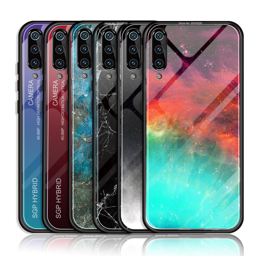 For Huawei P40 Lite E Case Marble Gradient Tempered Glass Cover For Huawei P30 P40 P 40 30 Lite Pro Silicone Soft Bumper Coque