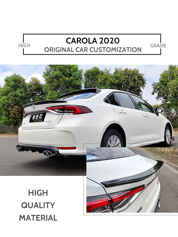 For <font><b>Toyota</b></font> <font><b>Corolla</b></font> <font><b>2019</b></font> Black <font><b>Spoiler</b></font> High Quality ABS Plastic Primer Color Car Tail Wing Rear Trunk <font><b>Spoiler</b></font> image