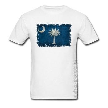 Wysokiej jakości t-shirty na zamówienie śmieszne koszulki z krótkim rękawem męskie koszulki Vintage South Carolina Flag Map graficzne koszulki dla dorosłych tanie i dobre opinie LYNSKEY CREW NECK tops Tees Regular Short Sleeve Suknem COTTON CASHMERE Z wełny Stretch Spandex Mikrofibra SILK Poliester