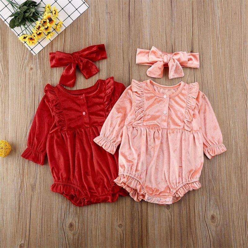 Baby Girls Ruffles Sleeve Round Neck Red Overalls Dresses