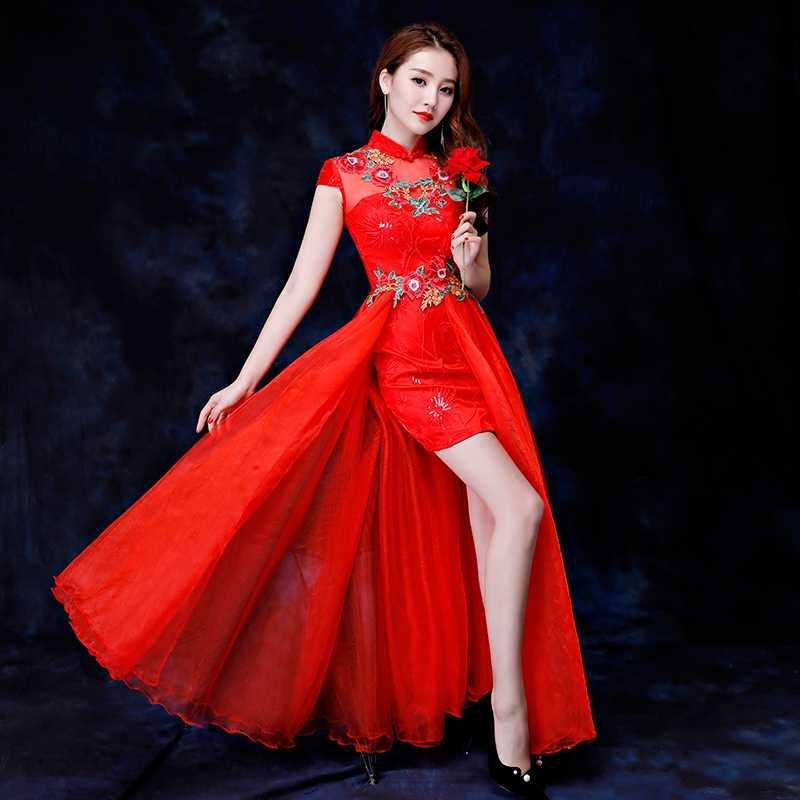 中国ロングドレス中国風のプリントクレーン女性袍ヴィンテージ赤スリムチャイナマンダリンカラー花嫁のウェディングパーティー