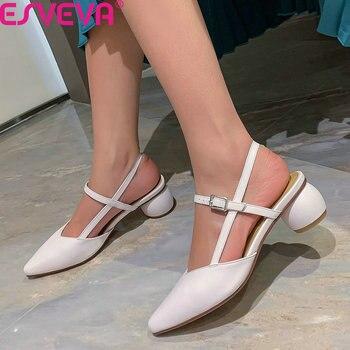 ESVEVA 2020 Pointed Toe Fashion Sandals Cow Leather Buckle Women Pumps Slingback Square Heel Summer Women Shoes Big Size 34-42