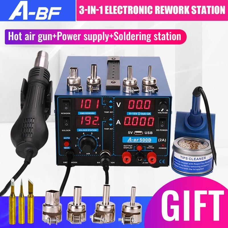 A-BF 500d estação de retrabalho eletrônico 3-em-1 móvel pcb reparação estação de ferro de solda pistola de ar quente display digital fonte de alimentação