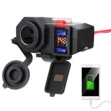 Do telefonu kierownica motocykla ładowarka 5V 2.1A zasilacz podwójny Port USB gniazdo do zapalniczki cyfrowy wyświetlacz