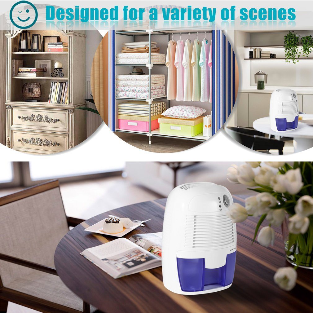 Removable Quiet Small-Size Thermo-Electric Dehumidifier For Smaller Room Cupboard Basement Attic Stored Boat RV Antique Car