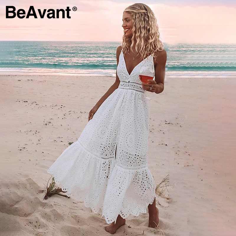 BeAvant Embroidery cotton white summer dress women Sexy v neck spaghetti strap long dress High waist button casual dress female|Dresses| - AliExpress