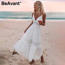 BeAvant 자수 코튼 화이트 여름 드레스 여성 섹시한 v 목 스파게티 스트랩 긴 드레스 높은 허리 버튼 캐주얼 드레스 여성