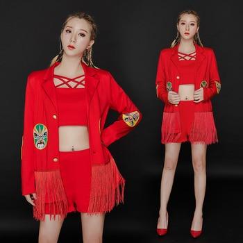 Sexy Nightclub Dj Costume Female Singer Clothes Birthday Party Suits Red Fringe 3pcs Set GOGO Pole Dance Ensemble Femme BI679