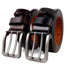 130 140 150 160 170 Cm Grote Size Mannen Echt Lederen Riem Voor Jeans Mannelijke Metalen Dubbele Pin metalen Gesp Bandjes Riem Bruin
