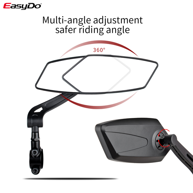 EasyDo Bicycle Rear View Mirror Bike Cycling Wide Range Back Sight Reflector Adjustable Left Right Mirrors