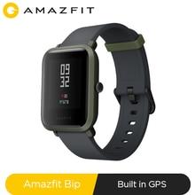 Amazfit smartwatch bip original, relógio inteligente esportivo com bluetooth e gps, monitor de frequência cardíaca, à prova d água ip68, lembrete de chamadas, aplicativo mifit, alarmes, alertas vibratórios