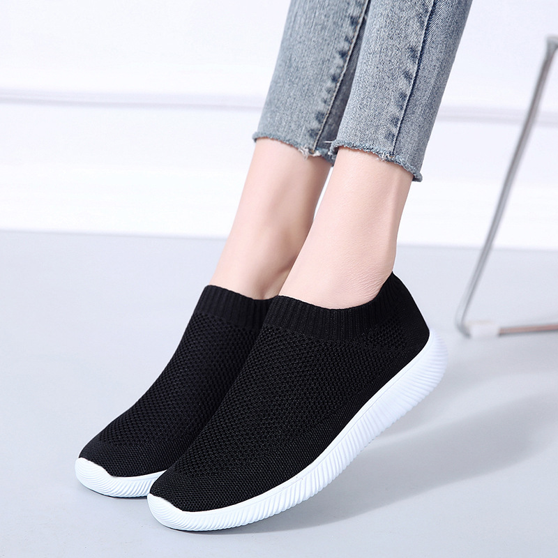 Women Casual Shoe Spring Slip On Solid Air Mesh Non Slip Sock Shoes Girls Shallow Rubber Wedges Sneakers Woman Plus Size 43