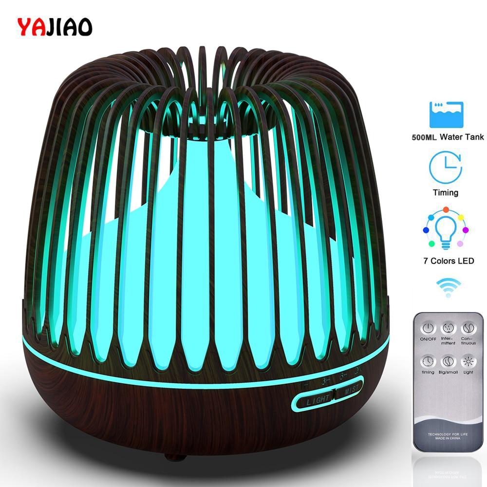 YAJIAO Essential-Oil-Diffuser Air-Humidifier Aroma Wood-Grain Ultrasonic 500ML Led-Lights
