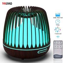 YAJIAO Ultraschall luftbefeuchter 500ML Wasser Tank Aroma Ätherisches Öl Diffusor 7 Farbe Led leuchten Holzmaserung Kühlen Nebel für Home