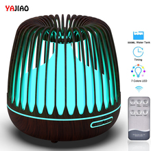 YAJIAO Ultrasonic Air Humidifier 500ML Water Tank Aroma Essential Oil Diffuser 7 Color LED Lights Wood Grain Cool Mist for Home