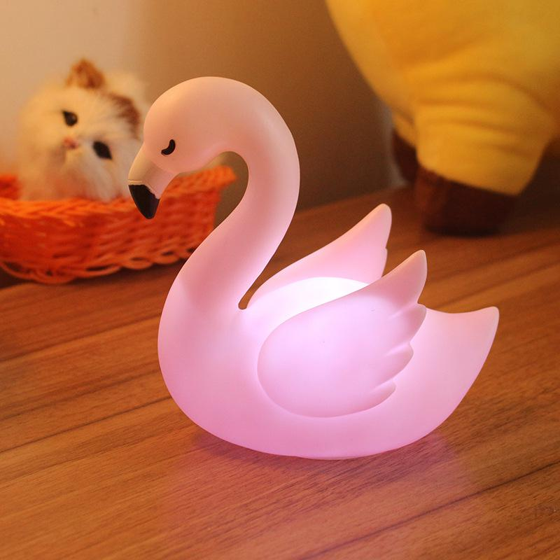 3D Desk Lamp Cute Cartoon Flamingo Shape Modeling Home Office Party Decoration Gifts Led Night Light Lamp For Kids Baby Girl