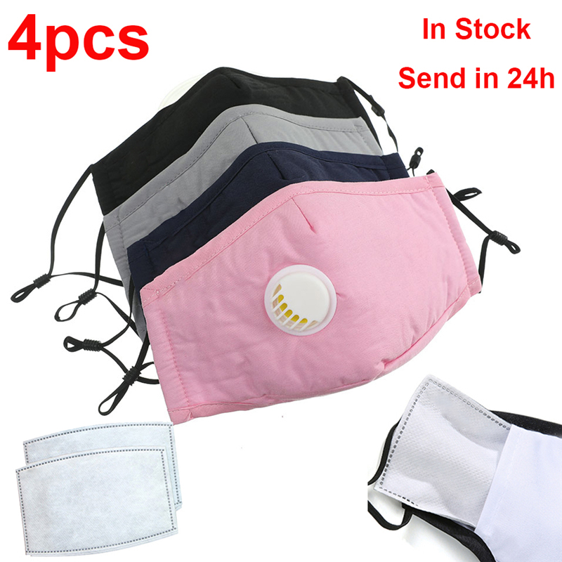 4pcs Face Mask With Breathing Valve Adult Mask Cotton Mask Filter Paper Mouth Cover Mask