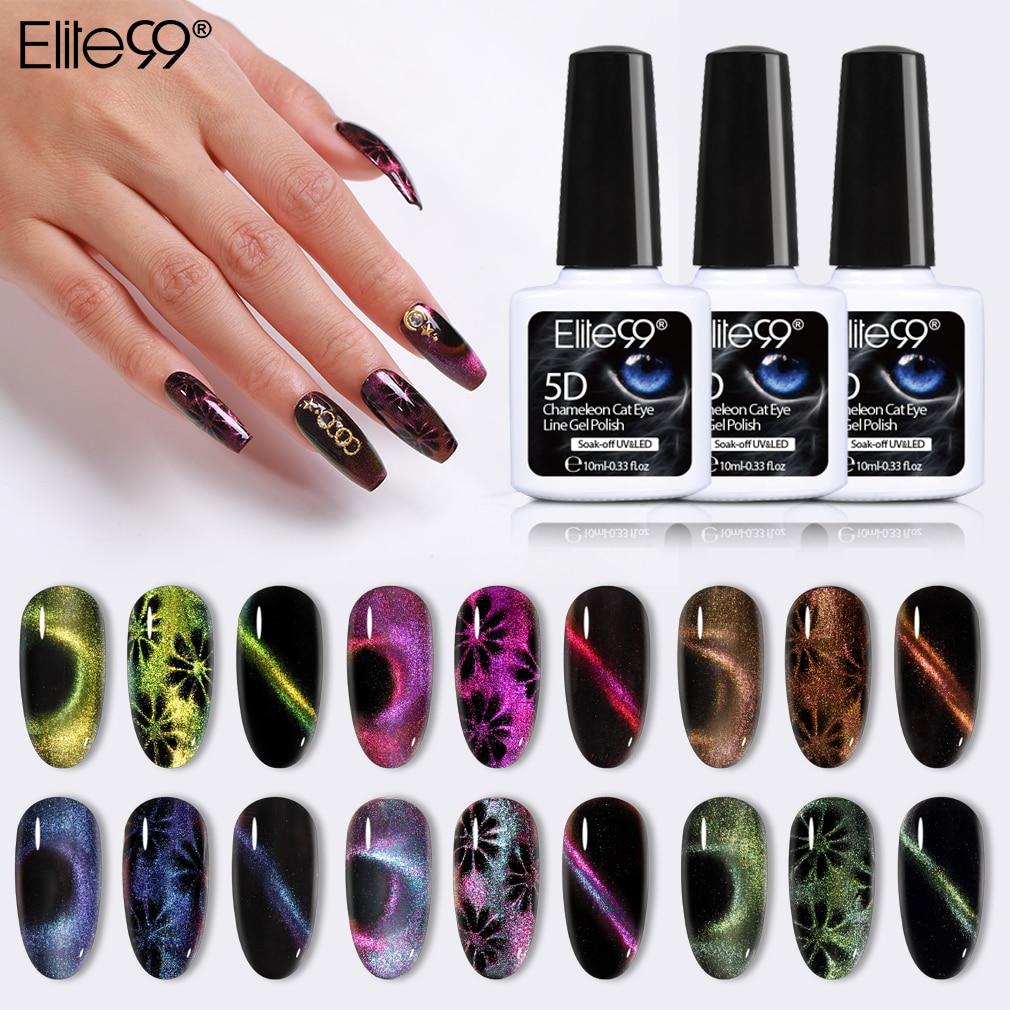 Гель-лак для ногтей Elite99 5D, хамелеон с эффектом «кошачий глаз», магнитный отмачиваемый УФ-гель для ногтей, романтичный Сияющий гель-лаки, 10 мл...