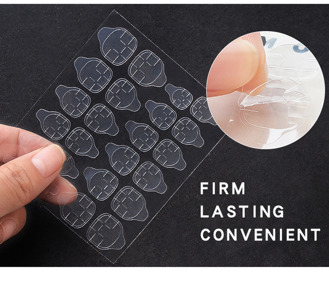 Lamemoria 10Sheet DIY Nail Tip Transparent Double Sided Self Adhesive Sticker Jelly Waterproof False Art Extension Glue Tool 4