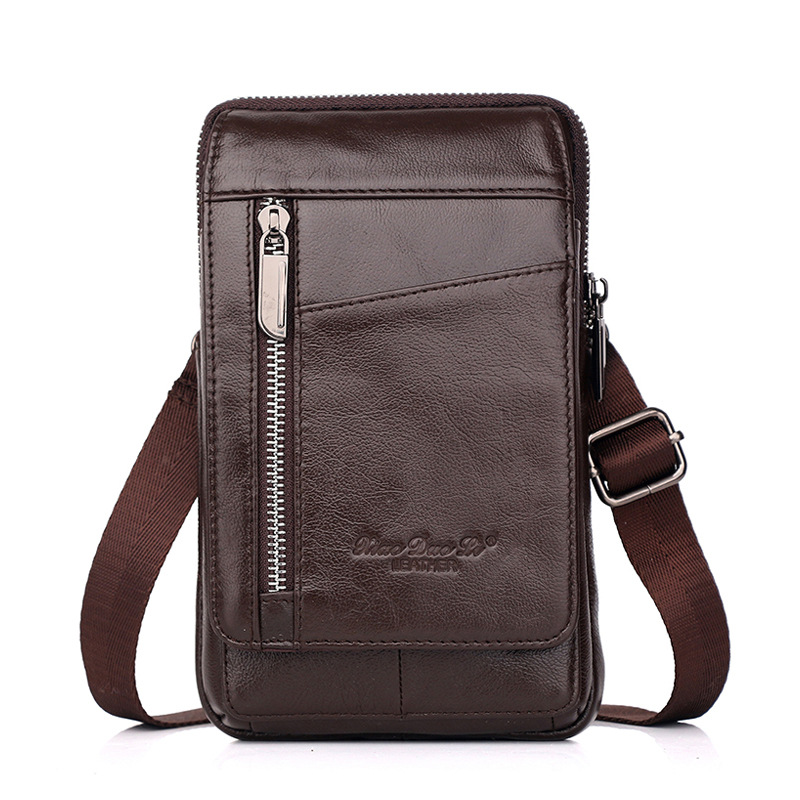 Men's Leather Running Bag 5.5/6-Inch Phone Bag 7-Inch Mini Shoulder Shoulder Bag Leather Mobile Phone Running Bag Wear Leather B
