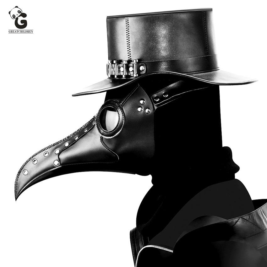 Plague Doctor Maske Adult Steam Punks Scary Horror PU Bird Doctor Schnabel Masque Halloween Cosplay Beak Maske Prop Carnival