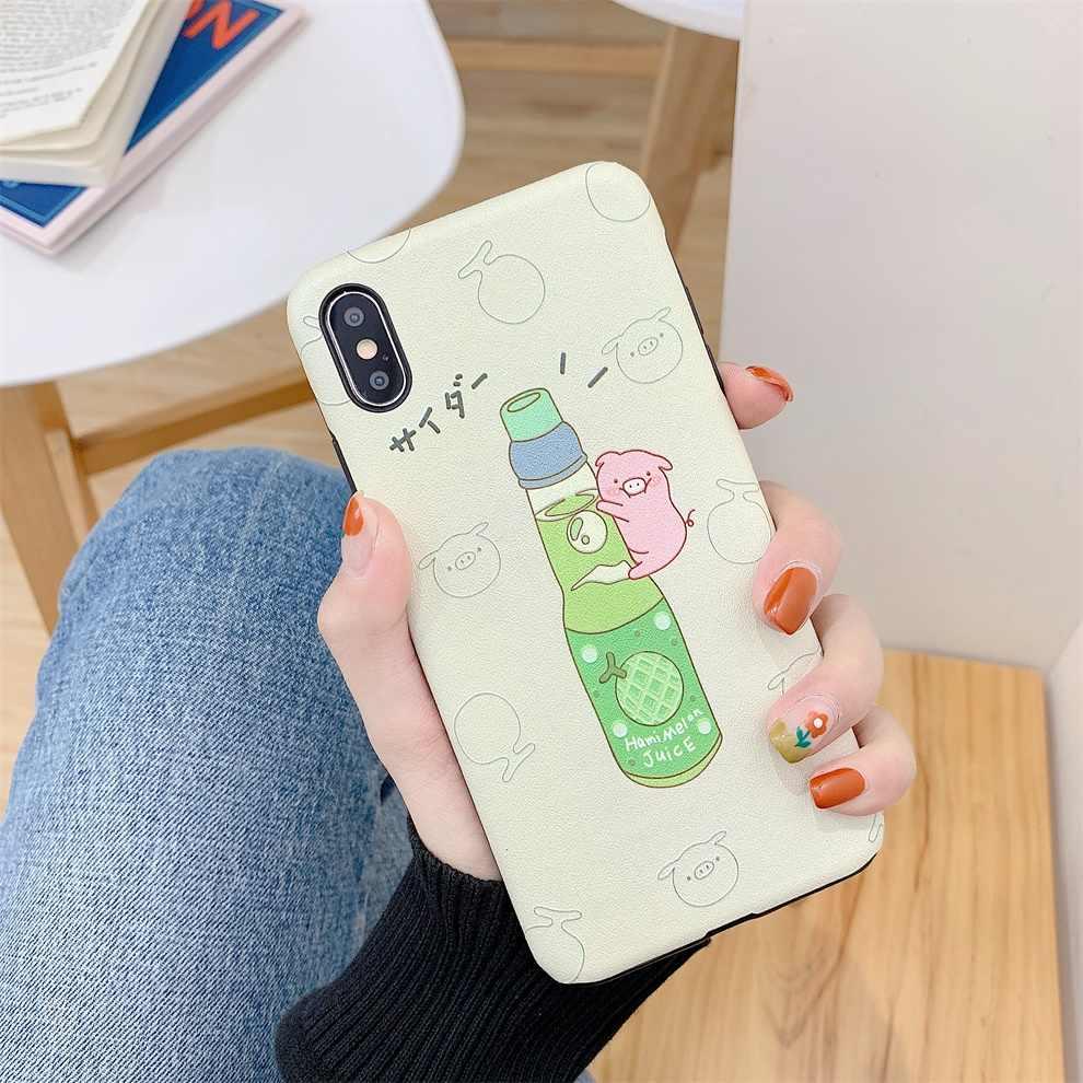 DTFQ Bonito Em Relevo Silk Padrão Caso TPU Macio Bebida Porco Hami Melão Morango Dos Desenhos Animados Capa para iPhone 7 8 Plus XR Xs 6s Max