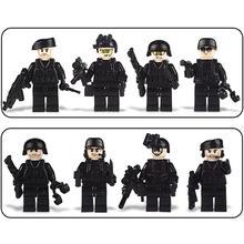 8PCS Assembled Building Blocks Military Special Forces Soldiers Bricks Figures Guns Weapons Compatible Legoings Building Blocks