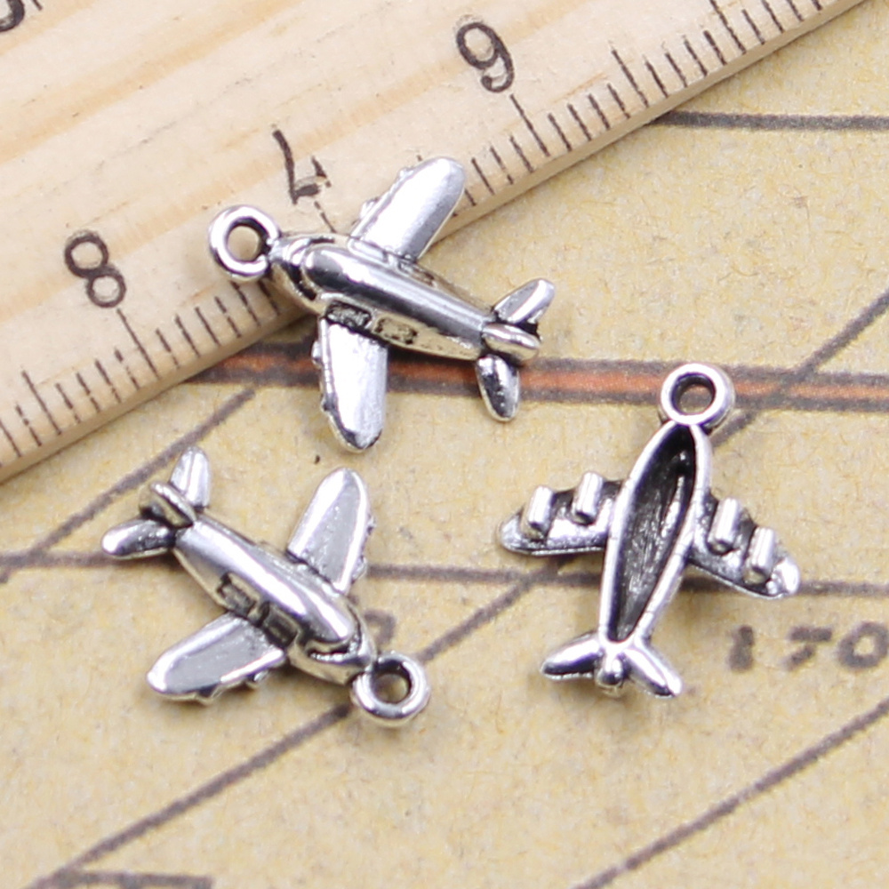 20pcs/lot Charms Lover Plane Airplane 15x14mm Tibetan Pendants Antique Jewelry Making DIY Handmade Craft For Necklace image